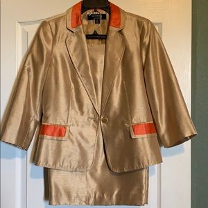Orange and gold business skirt suit